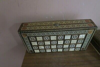 """Vintage Marquetry Wood Box Backgammon Set Wooden Checkers Handmade Syrian 12"""""""