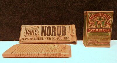 VINTAGE VAN's NO-RUB LANDRY SOAP & CELLULOID STARCH ADVERTISING FULL BOXES