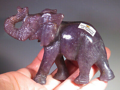 "3.7"" Large Purple Lapidolite Gemstone Elephant Carving from Zimbabwe *9445"