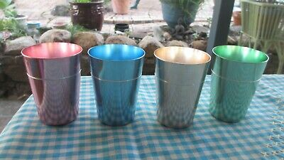 Vintage Anodised drinking Cups  Set of 4 stackable