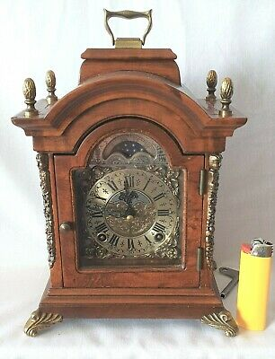 Warmink Dutch Clock Shelf 8 Day Key Wind Double Bell, Moon Dial Silent Option