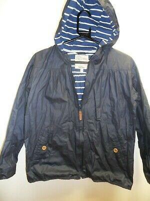 Girls FatFace Navy Blue Striped Lined Cotton Rain Coat Age 12-13 Years