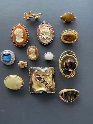vintage job lot brooches Includes Cameos
