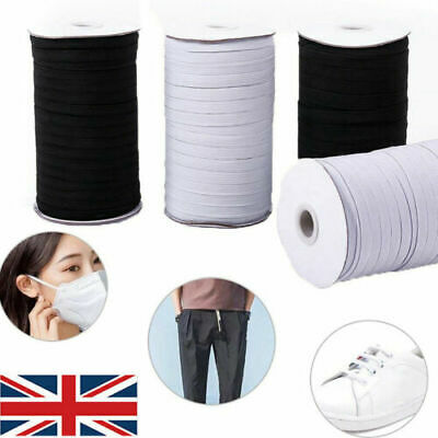 Lady-Muck3: 5mm Flat Elastic Stretch Cord Mask Sawing.Black and White.