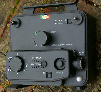 Cine Projector P 140.Dual Gauge Standard/Super 8.Silent  Zoom Lens.Made it Italy