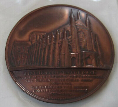 Vintage Large, Hand Made Bronze ? Medal Of Winchester Cathedral Intricate Detail