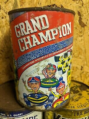 Old Grand Champion 1 Quart Metal Motor Oil Can Empty Race Cars