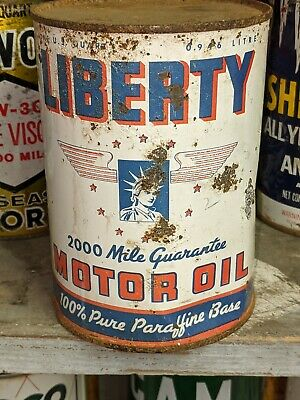 Old Liberty 1 Quart Metal Motor Oil Can Empty w Graphics Radbill NY
