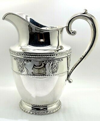 """Rose Point By Wallace Sterling Silver Water Pitcher 9 1/2"""" Tall"""
