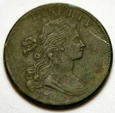 1798 Draped Bust Large Cent Great Details Compares to Un-Circulated