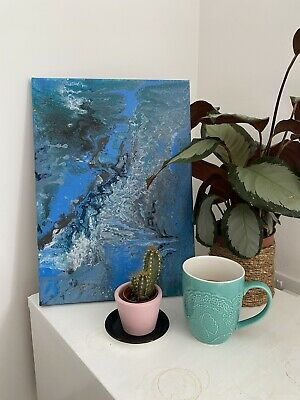 Acrylic Fluid Art Painting In Blue With A Glossy Seal.