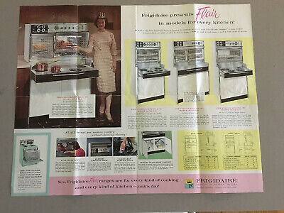 """1960's Frigidaire Flair Marketing Brochure-18"""" by 22"""" Has some pen markings"""