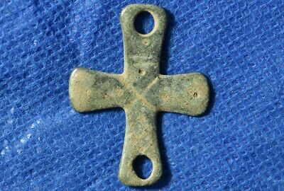 Byzantine, Christian Ancient bronze Cross Pendant / Amulet