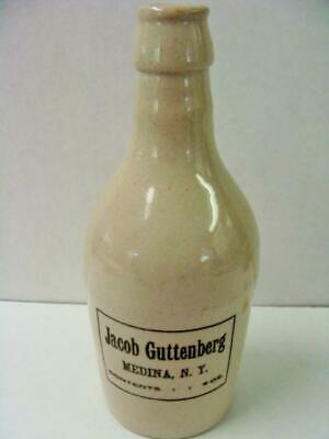 Jacob Guttenberg 1890'S Stone Ware Beer Bottle Medina, New York