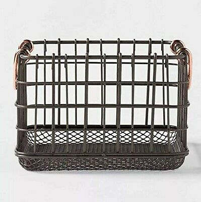 Threshold Milk Crate Wire Baskets - Antique Pewter with Copper Colored Handle...