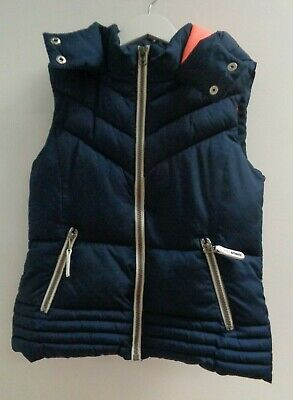 Next Girls Navy Blue Padded Gilet With Hood Age 10 Years