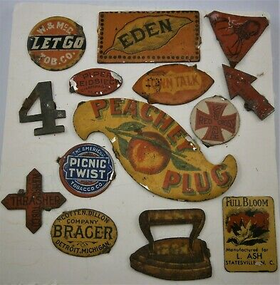 Collection of 14 Vintage Tobacco Tags, Brager, Eden, Peachey Plug, Picnic Twist+