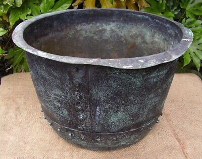 original architectural salvage victorian copper cauldron riveted planter