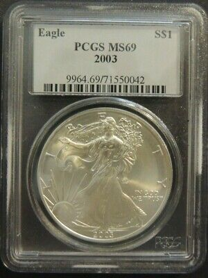 Silver American Eagles $1 2003 SAE PCGS MS-69