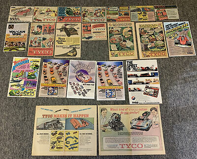 lot of 21 1960's-1980's TYCO cartoon toy ads ~ slot cars, railroad, etc