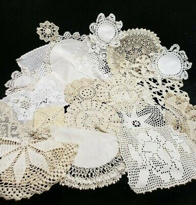 """20 Vintage Antique Hand Crocheted Doily Tablecloth White 3-15 """" Wedding Crafts"""
