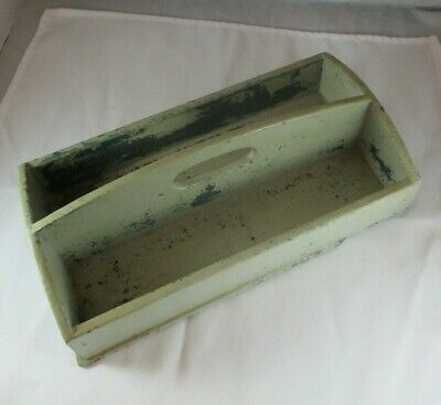 Primitive Wooden Knife / Silverware Tray Antique Cutlery Box Old Green Paint