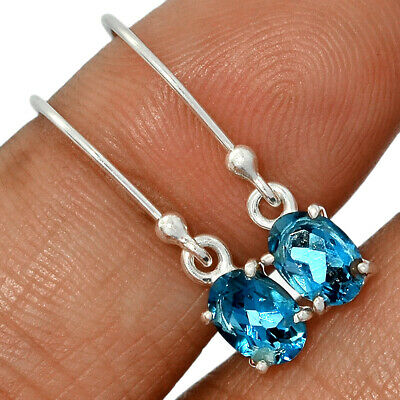 Faceted London Blue Topaz 925 Sterling Silver Earring Jewelry AE136138