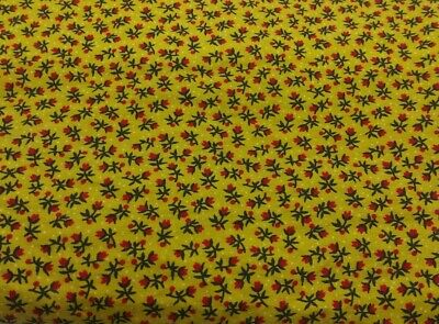 Vintage Feedsack Feed Sack Tiny Print Red Roses Yellow Polka Dot Quilt Fabric