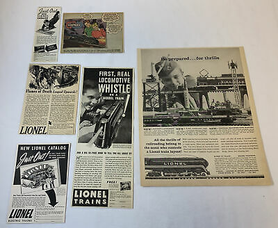 collection/lot of 6 LIONEL TRAINS ads ~ 1930's-1960's
