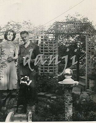 handsome DECO Couple with BOSTON TERRIER Dog climbing man's Leg* old Photo