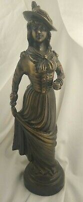 Antique FRENCH BRONZE Victorian WOMAN GIRL hat Lady STATUE Sculpture Figure Vtg