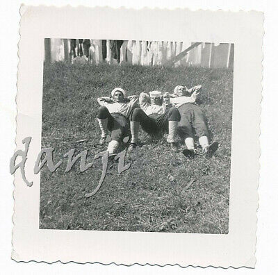 3 SAILORS lying back on a HILL in a COCKY pose* old MILITARY Photo
