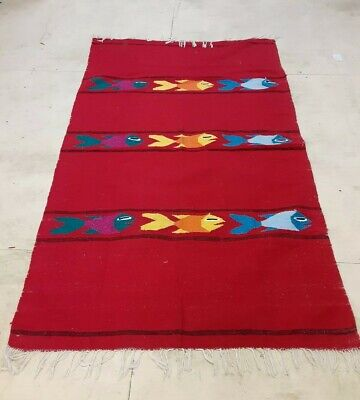Vintage Mexican Zapotec Wool Blanket Rug Fish Design, fringe, 46 x 74 Wall Hang