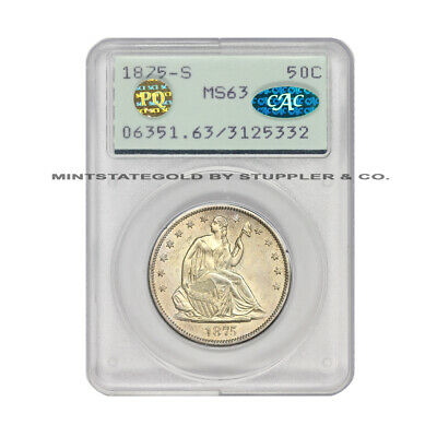 1875-S 50c Silver Seated Liberty Half Dollar PCGS MS63 Rattler CAC & PQ Approved