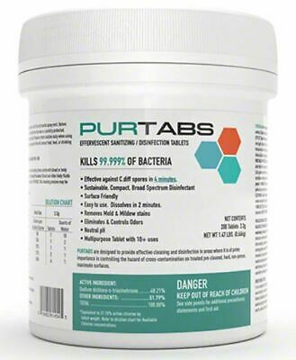 PURTABS Hospital viral disinfect 200 Ct 3.3g Tablets-virucide FREE SHIP