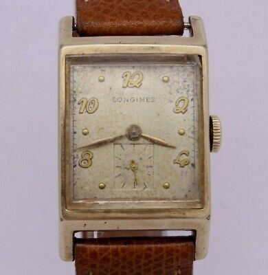 VINTAGE Longines Mens 10k Gold Filled Rectangular Dress Watch cal.9L Wittnauer