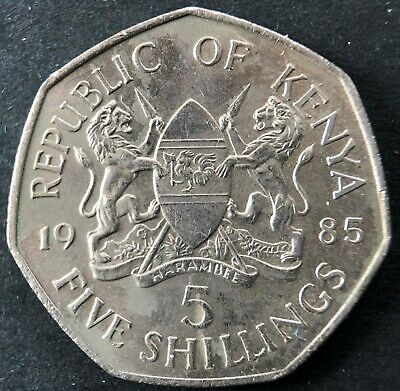 1985 Kenya 5 Shillings coin in nice condition