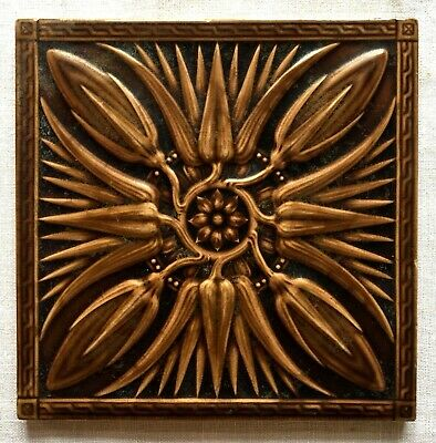 Antique MINTON HOLLINS & CO. Molded Majolica Tile England Art Nouveau Victorian
