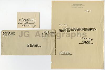 Walter Bedell Smith - US Army - Vintage WWII War Date Signature, 1944