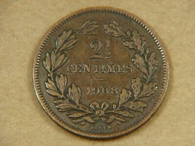 1908 Luxembourg 2 1/2 Centimes Coin