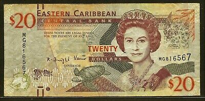 EAST CARIBBEAN STATES 20 dollars ND (1994) P33m F+ turtle / govt. house