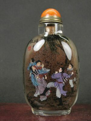 Chinese Ancient Many People Word Inside Hand Painted Glass Snuff Bottle