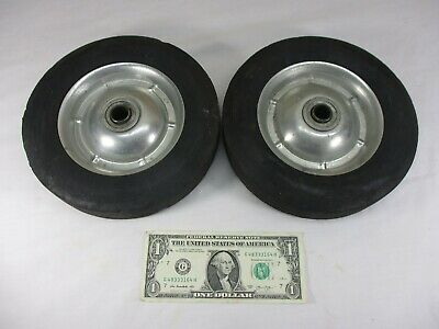 "Set of Vintage Rubber Cart Wagon Dolly Wheels Metal Rims 8"" x 1.75"""