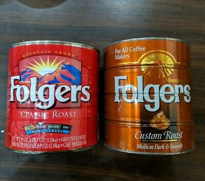 2 Vintage/Antique Mountain Grown Folgers Tin Metal Coffee Cans