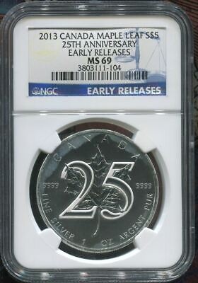 2013 Canada $5 Maple Leaf - 25Th Anniv. - Silver Coin - Ngc Ms69 Er ----> Read