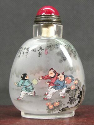 Chinese Six Boy Inside Hand Painted Man Made Crystal Snuff Bottle:Gift Box