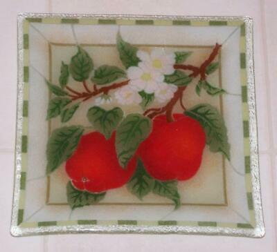 """Peggy Karr Art Glass Plate - Apples - 9 1/2"""" square"""