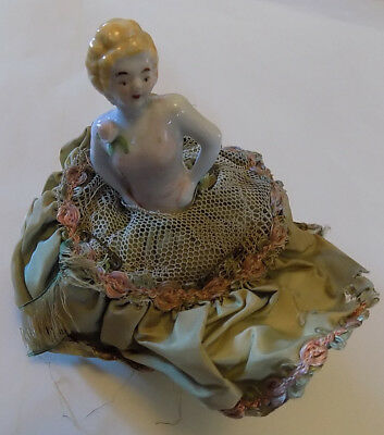 Vintage Porcelain Pin Cushion Half Doll Satin Skirt 5 1/4 Inches