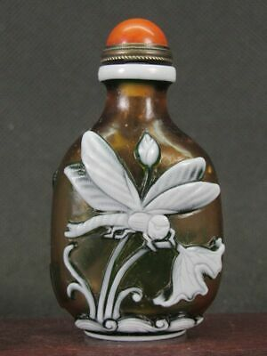 Chinese Dragonfly Lotus Carved Peking Overlay Glass Snuff Bottle