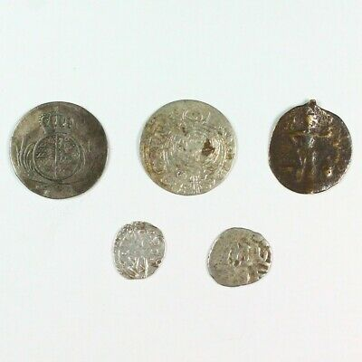 Lot of 5 Medieval Silver Coins c. approx 1400 A.D. - Exact Lot Shown 8189